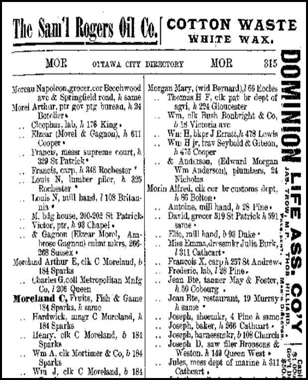 City of Ottawa Directory from 1890