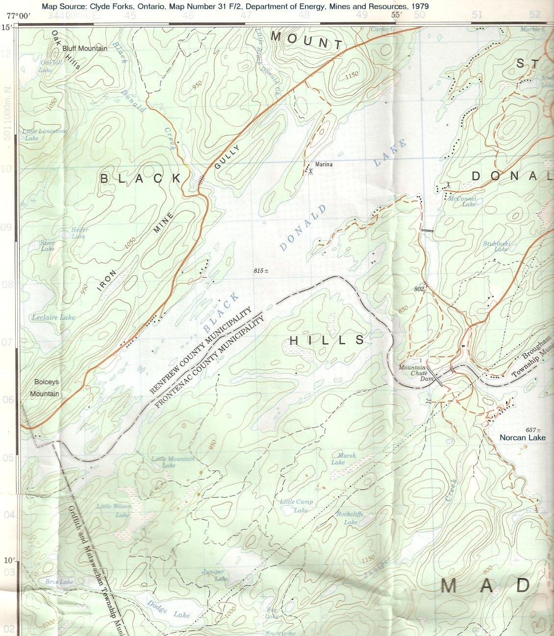 Mountain Chute Map - Madawaska River, Ontario, Canada