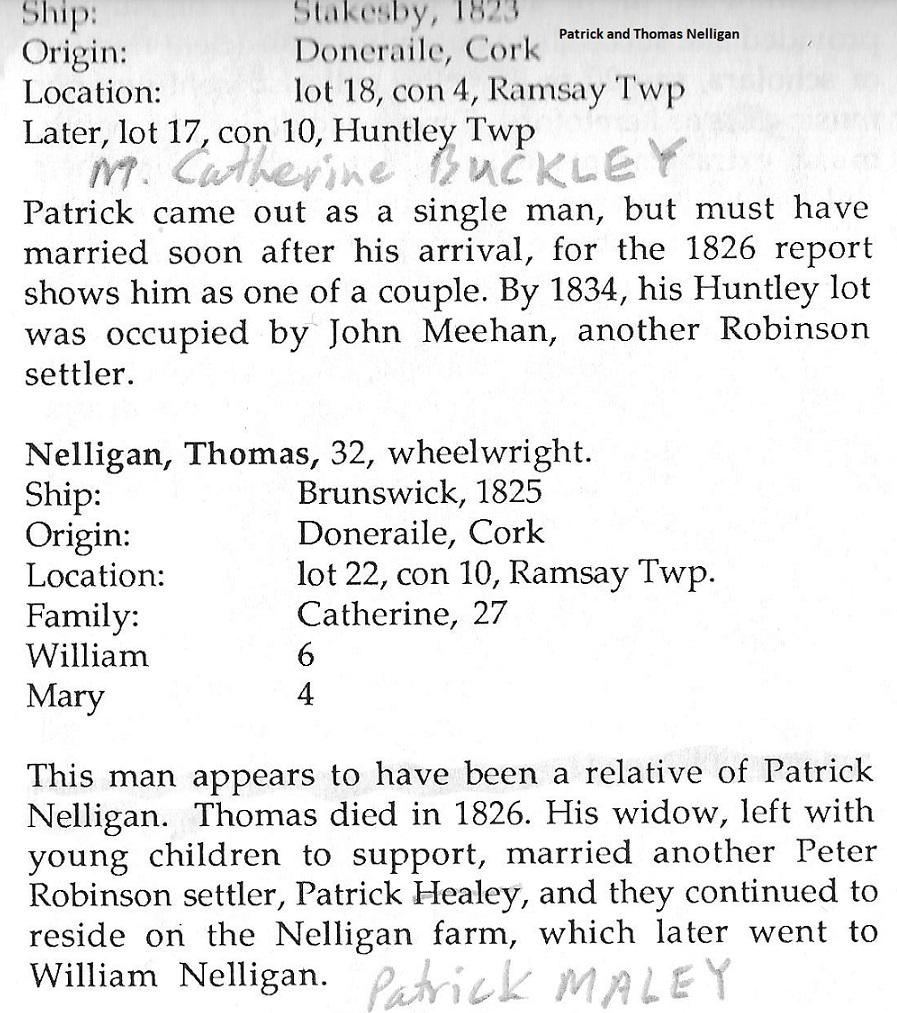 Patrick and Thomas Nelligan, Ireland to Canada