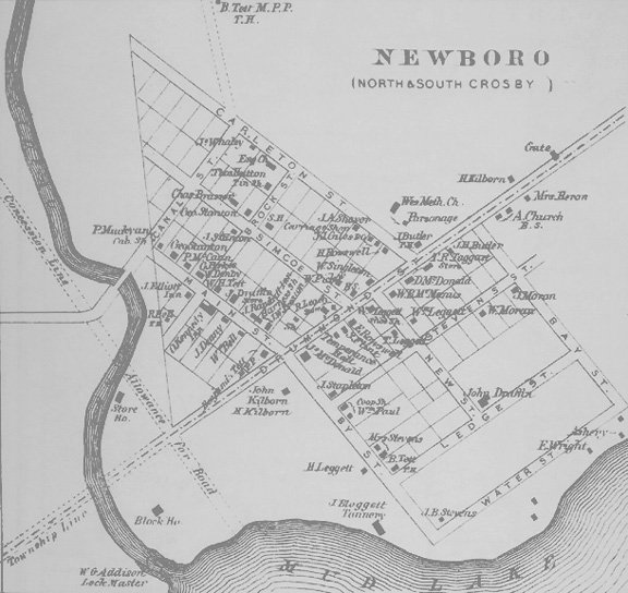 Map of Newboro, Ontario in 1879