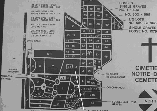 Map of Notre Dame Cemetery