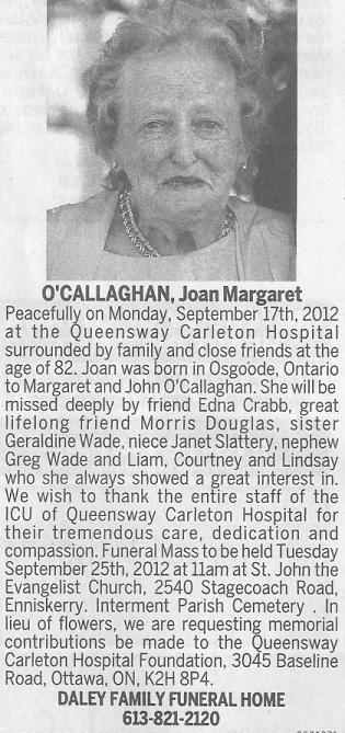Obituary for Joan Margaret O'Callaghan