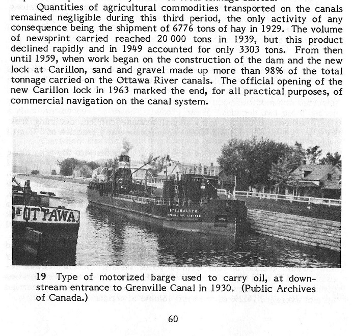 Oil Barge in the Grenville Canal, 1930