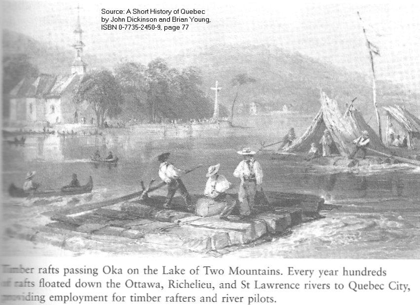 Lumber Rafts passing Oka / Deux Montagnes, Quebec