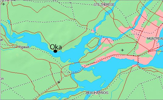 Map showing the location of the OKA Reserve near Montreal