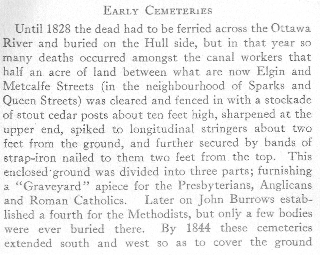 Early Cemeteries in Ottawa, Ontario, Canada and Hull, Quebec