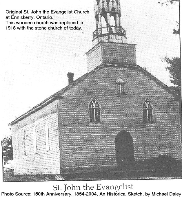 St. John the Evangelist Church at Enniskerry, Ontario - Original Wooden Church, c. 1880