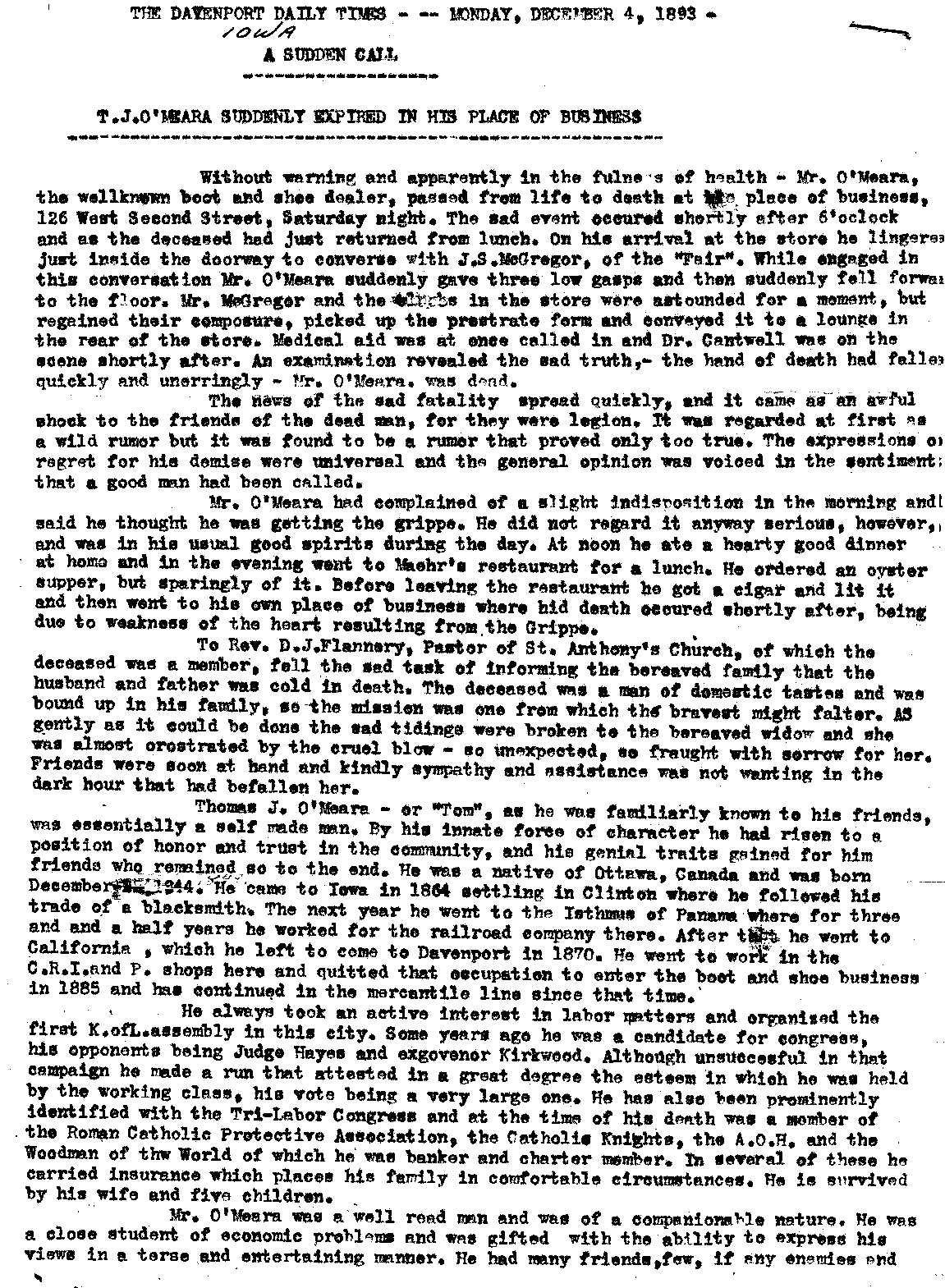 Thomas O'Meara Obit page 1