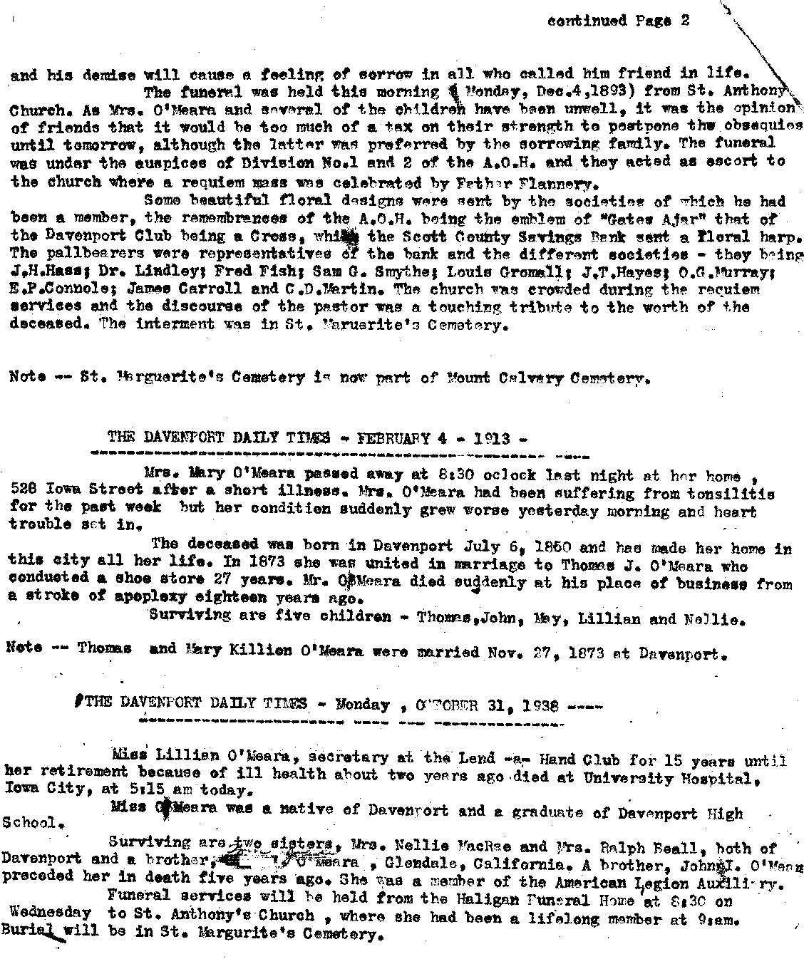 Thomas O'Meara Obit page 2