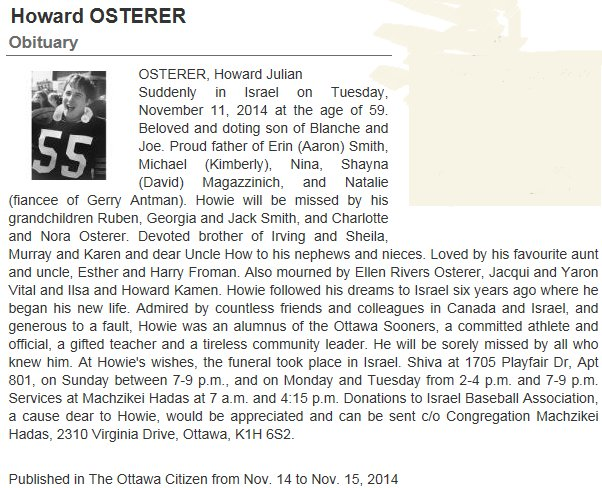 Obituary for Howard Osterer, native of Ottawa, Ontario, Canada