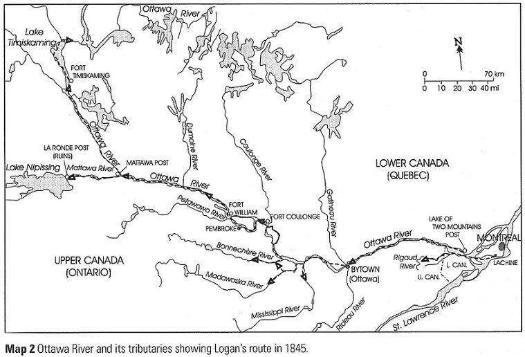 Ottawa River Valley 1845 map by William Logan