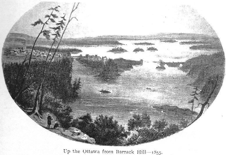 View up the Ottawa River from Barracks Hill in 1855