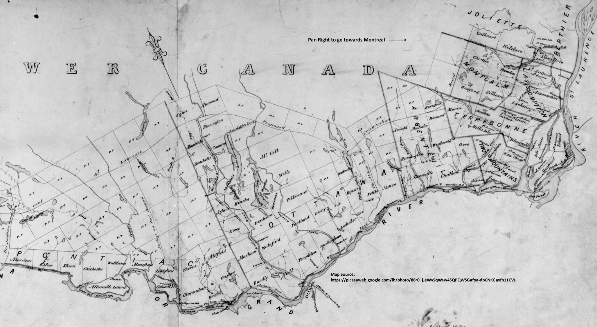 Map of West Quebec Townships - Early