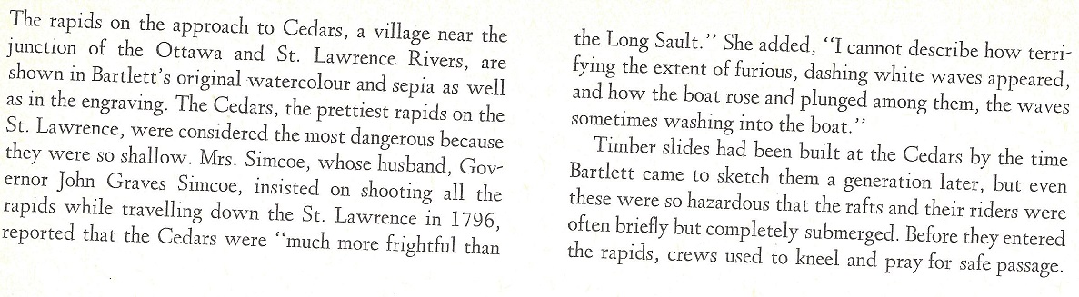 Cedar Rapids on the St. Lawrence River, text, c. 1840