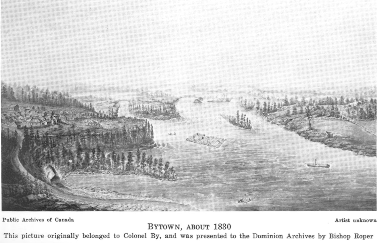 Painting of Bytown, 1830, Ottawa, Ontario, Canada