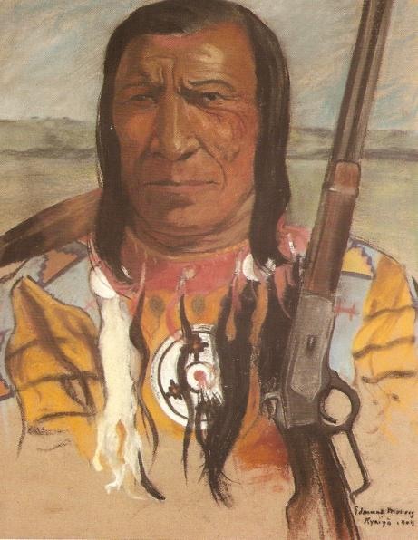 Painting by Edmund Morris - Chief High Eagle, 1909