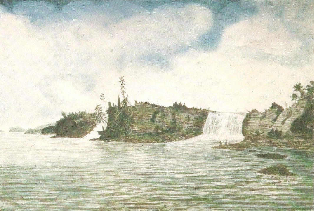 Watercolour, Thomas Burrowes, 1826, Rideau Falls at Ottawa