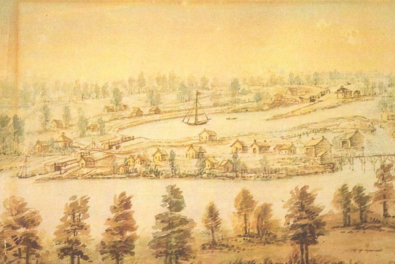 Watercolour, John Burrows, 1845, Smiths Falls, Ontario, Canada