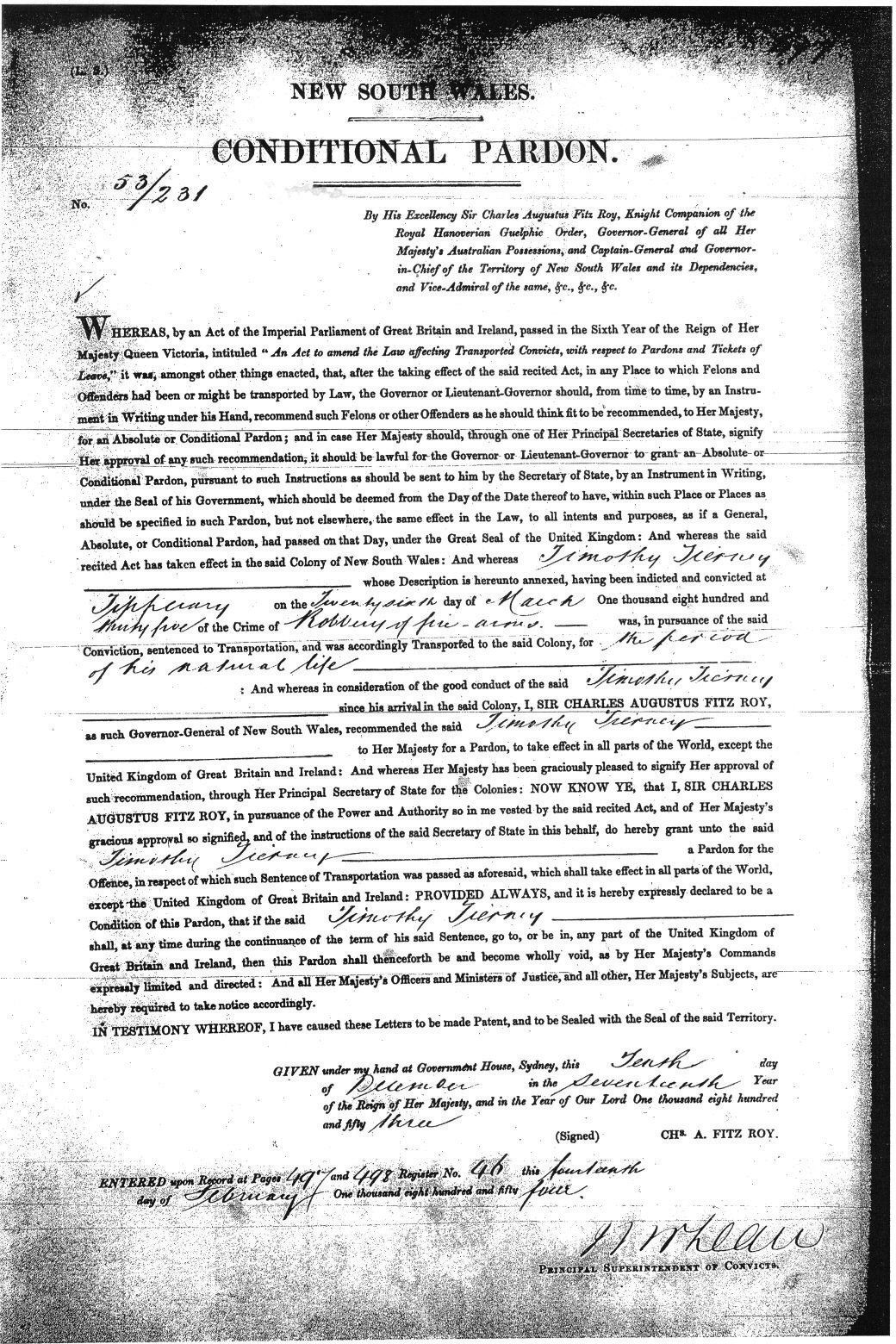 Pardon of Timothy Tierney in New South Wales