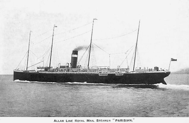 Ship Parisian, London, England to Quebec and Montreal, Canada in 1901