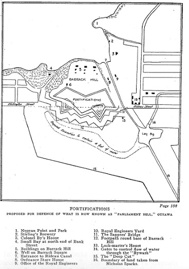 proposed fortifications around Barrack's Hill