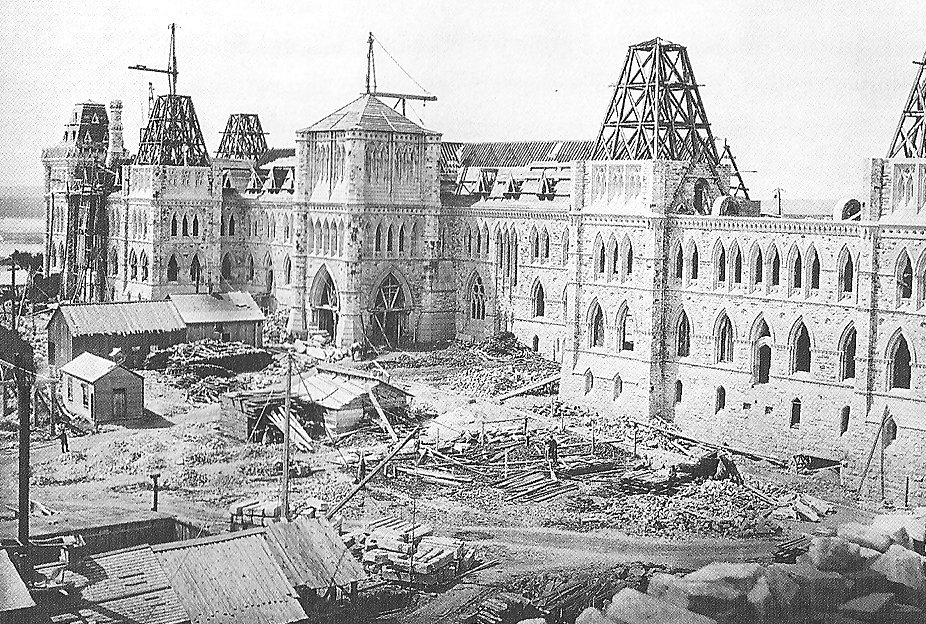 Construction of the Centre Block, Ottawa, Canada, in 1863