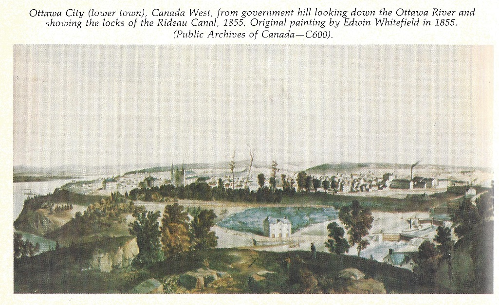 1855 painting by Edwin Whitefield</CENTER>  <hr>  August 17, 2021:  Picture Source: <U>From War to Winterlude, 150 Years on the Rideau Canal</U>, By Mary E. Peck,  ISBN 0-660-51015-4, 1982, page 52.  <U><CENTER><U>Eight Locks in 1832</U></CENTER></U>   Keywords: Painting by John Burrows, Picture Division, Negative Number 92930.  <CENTER><IMG SRC=
