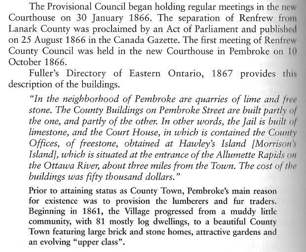 Pembroke, Ontario, Canada becomes a County Town