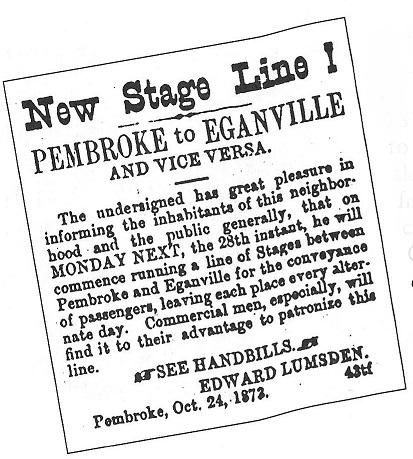 Stage Coach, Eganville to Pembroke, 1873