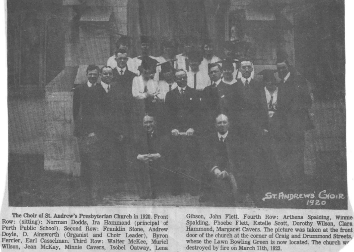 St. Andrews Church Choir in Perth, Ontario, in 1920