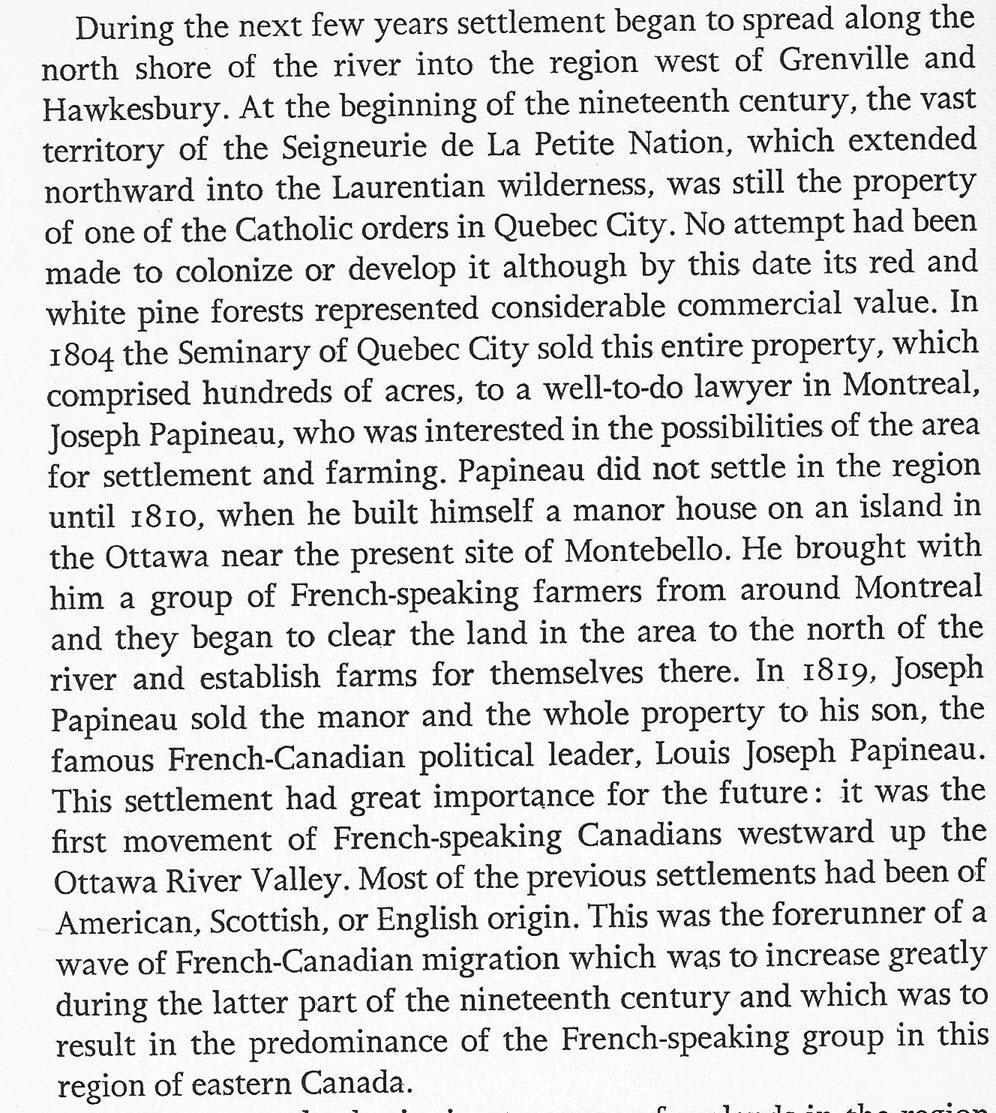 Louis Joseph Papineau - His Seigneury at La Petite Nation