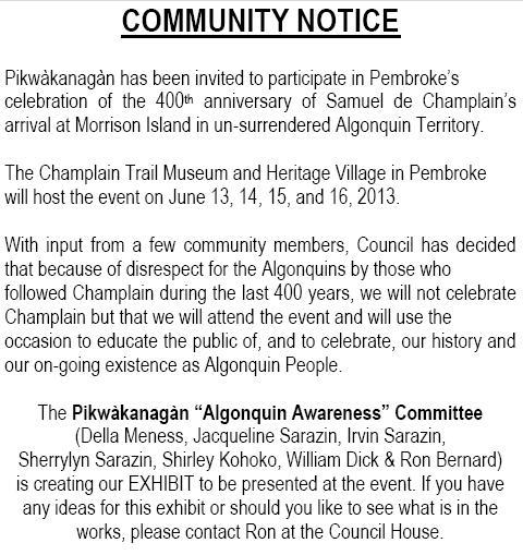 Agonquins at Pikwakanagan and the Champlain 400 Celebrations