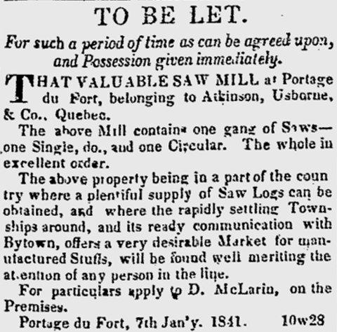 Saw Mill at Portage du Fort, Quebec, in 1841