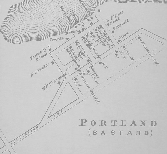 Map of Portland, Ontario in 1879