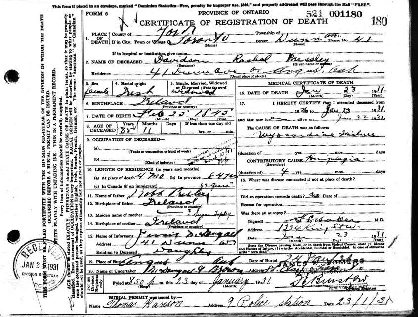 Death Certificate for Rachel Prestley Davidson