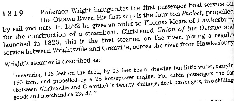 Philomen Wright builds the first steamer for the Ottawa River