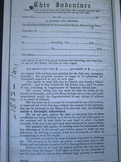 Primary Document, British Home Children Indenture agreement for Quarrier Home Children emigration