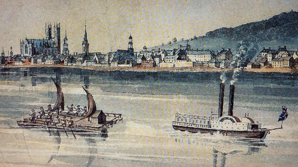 Raft and Steamer off the shore at Montreal