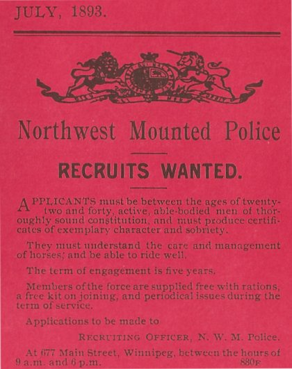 RCMP Recruitment Poster, 1893