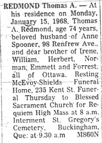 Thomas August Redmond Obituary 1968