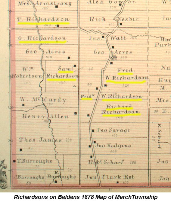 Map showing the Pioneer Richardson Farms of March Township, Ontario, Canada