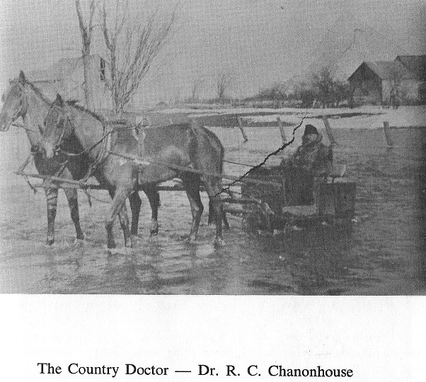 Dr. Chanonhouse travels by horse drawn sleigh in Richmond, Ontario