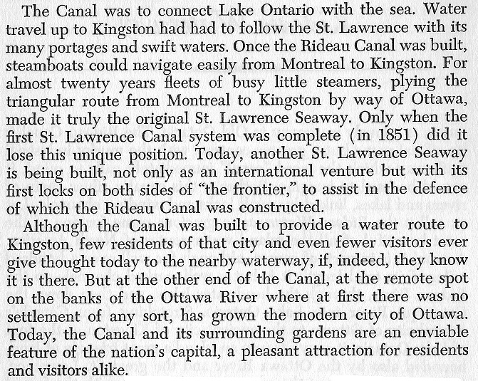 Rideau Canal in the Heart of Ottawa - Text by Legget