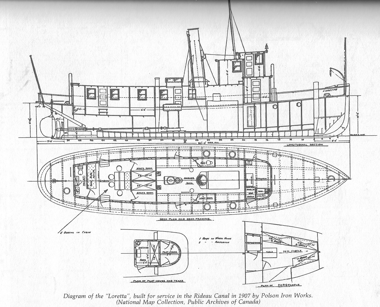 ridcanal diagram of the Tug Boat Loretta, built in 1907