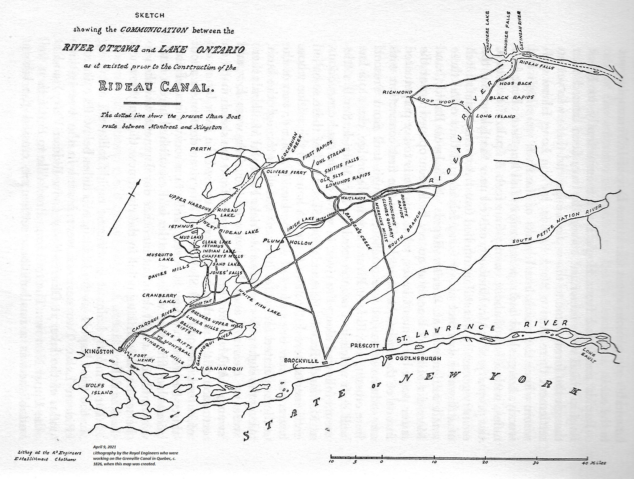 Canal Map, 1826, by the Royal Engineers from Text Book