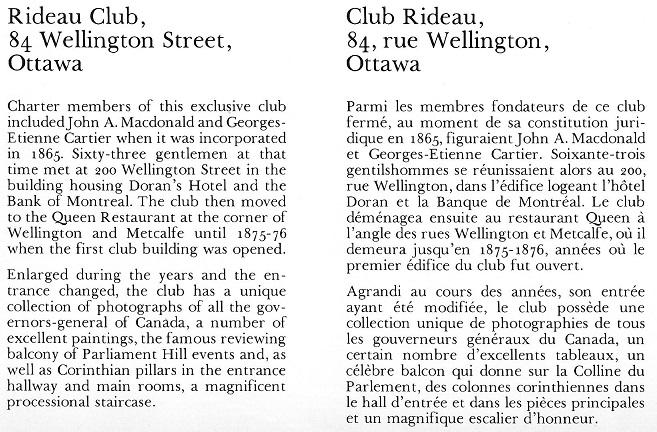 The Rideau Club, Text