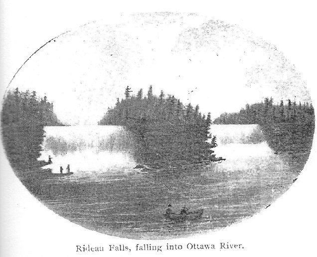 Rideau Falls showing persons and a canoe, c. 1820's