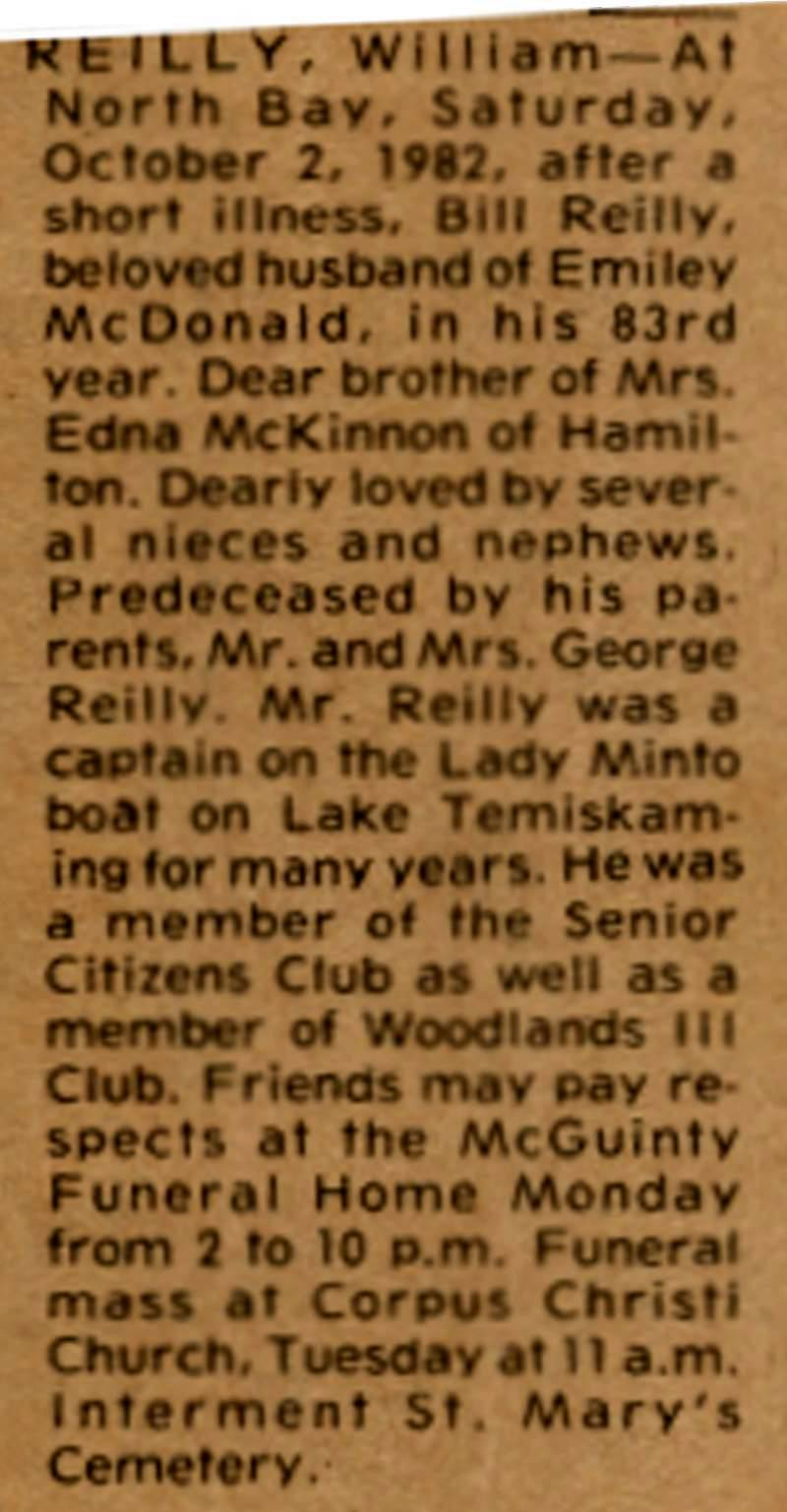 William Rielly, Obituary, North Bay, Ontario, Canada