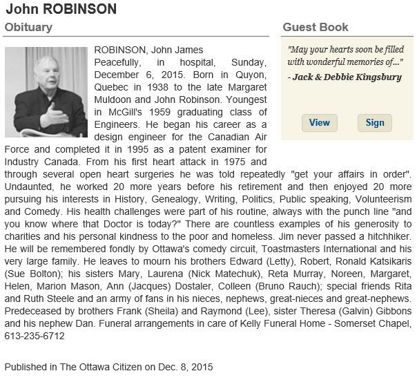 Obituary for Mr. Jim Robinson