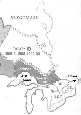 Map showing Robinson Superior and Robinson Huron treaties in 1850